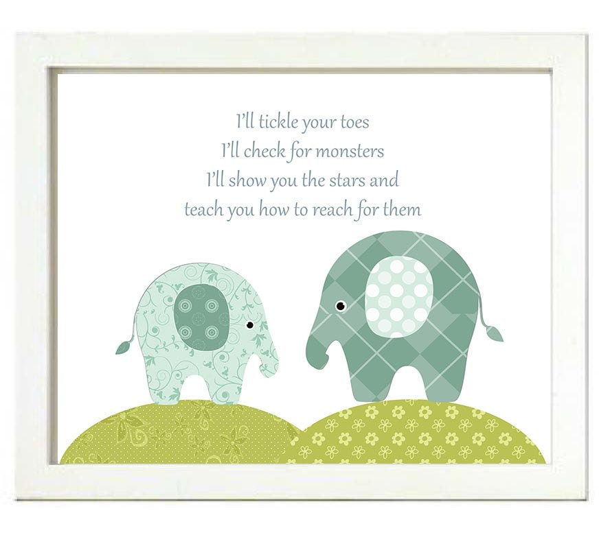 Elephant Nursery Art Print Ill tickle your toes check for monsters show you the stars and teach you