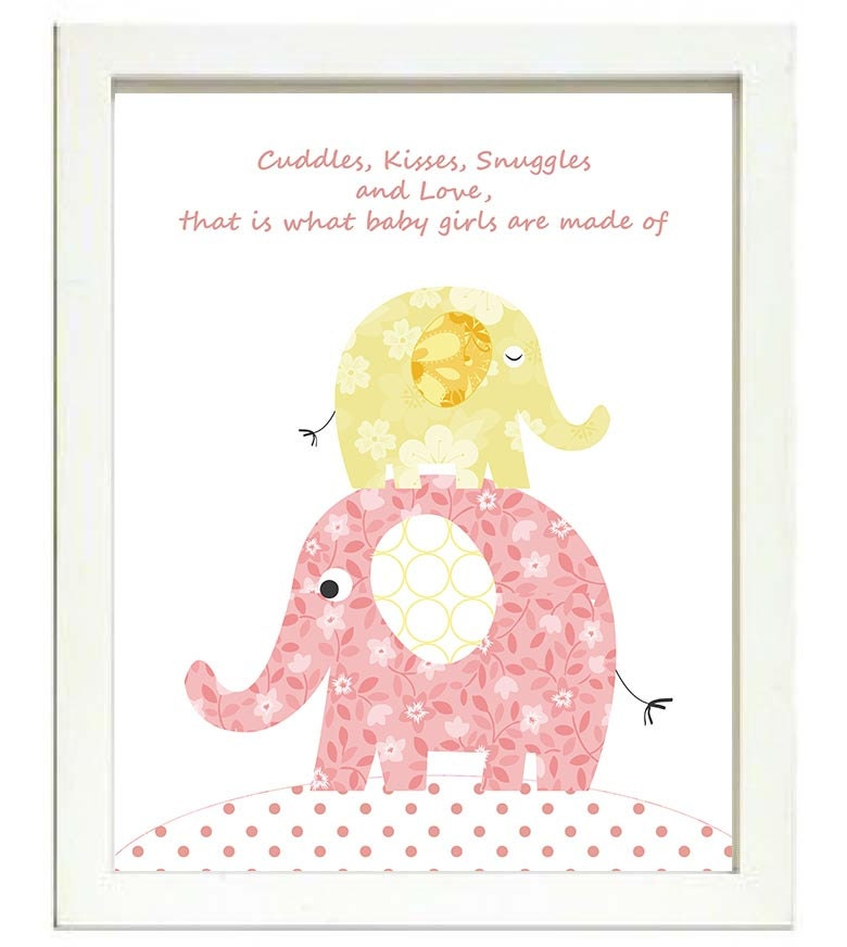 Pink Elephant Nursery Art Nursery Print Cuddles Kisses Snuggles and Love that is what baby girls are