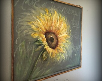 Old recycle window Screen, SUNFLOWER, Spring art, outdoor art
