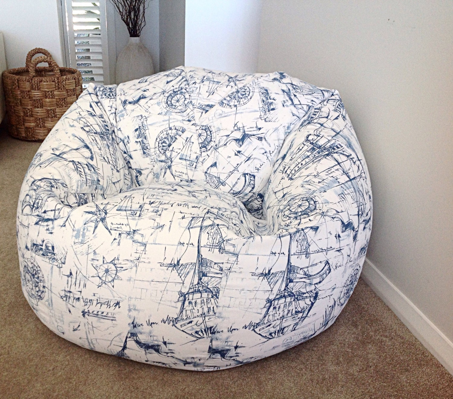 Nautical Bean Bag Blue and White Bean Bag cover Kids Bean Bags