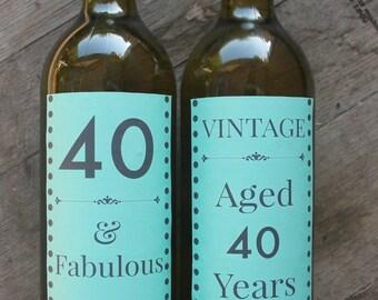40th Birthday Wine Bottle Labels - Green