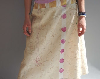 Linen beige brown and purple long skirt, tribal , one of a kind, boho gyspy, festival