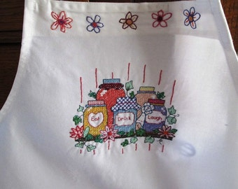 "Hand-stitched ""Eat, Drink, Laugh"" apron"