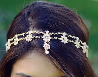 THE CELINE - Gold Flower Pearl Rhinestone Bridal Hairstyle Indian Boho Bohemian Headband  Festival Hair Chain Headpiece Egyptian Christmas