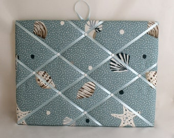 "Fabric Notice Board in Blue Sea Shell Fabric 40cm x 30cm (16"" x 12"")"