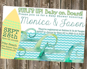 Baby Shower Invitation: Beach- Surfboard- Watercolor Waves