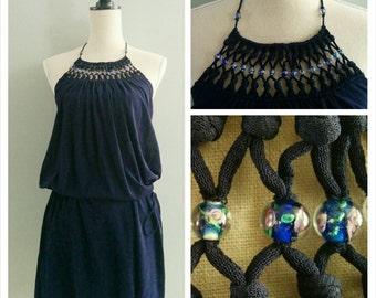 SALE Beaded Neckline Dress • 90s Vivienne Tam navy dark blue halter top knotted web knit floral glass bead summer sun beach1990s