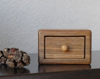 Engagement and Wedding Ring Box, Small Walnut Wood Box, Ring Bearer Box