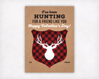 Printable Kids Valentine Card, Hunting Valentines Day Cards, Boys Valentine Cards, Deer Antlers School Classroom Valentine Instant Download