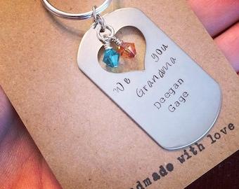 Nana/Grandma stamped keychain