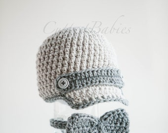 Baby Boy Crochet Newsboy Hat with matching Bow. Photo Prop 0-3, 3-6.