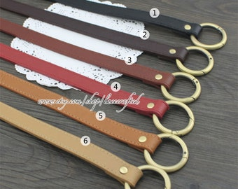 1Pair PU leather Shoulder bag straps Purse straps Leather Shoulder Handles ,21inchs x1.8cm Anti Brass round gate ring