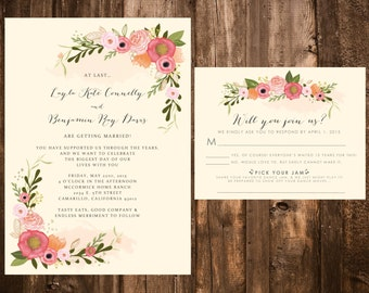 Garden Bohemian Floral Wedding Invitation Set