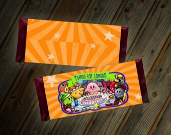Kirby Candy Bar Wrapper Thank You Party Favor Goodie Bag Custom Digital File