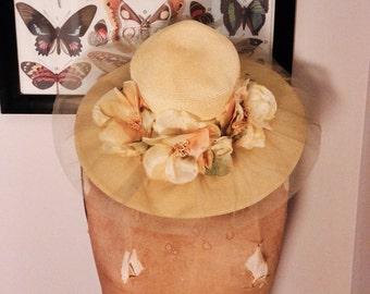 1950s Pinup  / Derby Floral Floppy Hat