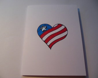 Valentine's Day Card, Patriotic Card,  Card for Soldier, Card for Veteran, Flag Card, Thank You Soldier Card, Welcome Home Military Card