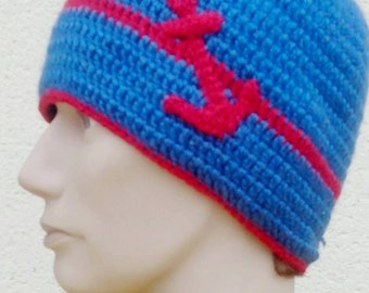 Bonnet man blue and red nautical style. To order only.