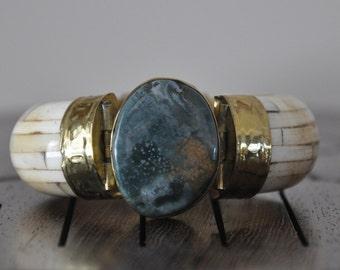 Bone And Brass Hinged Bracelet, Large Natural Gemstone, Bold Cuff, Handmade in India, 1960's