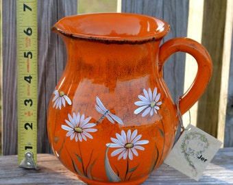 Clay Water Pitcher - Rustic Orange with Daisies and Dragonflies