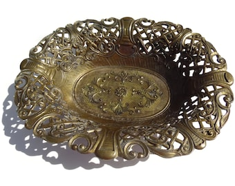 Vintage Brass Oval Bowl Made In Italy