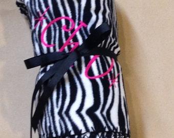 Chi Omega Zebra Fleece Blanket