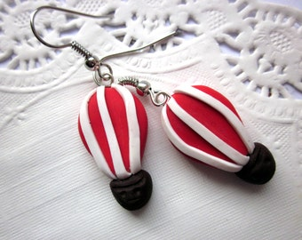 Polymer Clay Balloon Earrings, Balloon Earrings, Cute Hot Air Balloon Jewellery, Flying Balloon Red Earrings