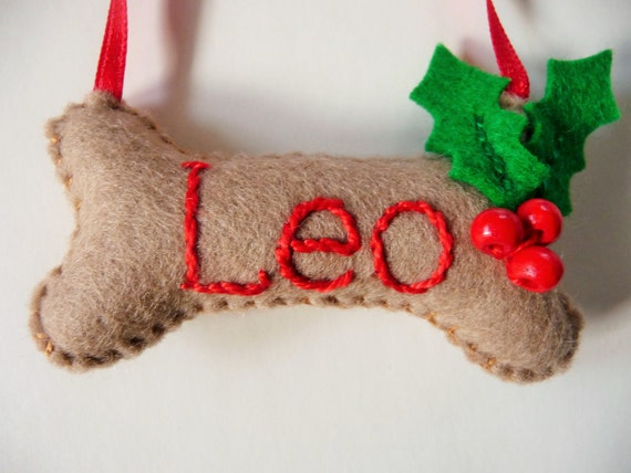 Personalized Dog Bone Felt Ornament / Christmas Ornament