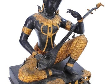 "Vintage 19"" Gilt Bronze Statue of Thai Prince Playing Music"