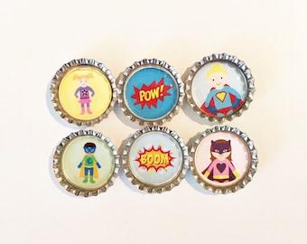 Super Heroes/Superheroes Bottle Cap Magnet  Set of 6