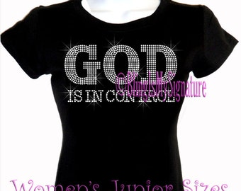 GOD is in control - Clear - Iron on Rhinestone T-Shirt - Bling Hot Fix Transfer Shirt Top