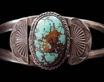 Exquisite Antique Dead Pawn NAVAJO Brisbee Turquoise and Sterling Silver Delicate Cuff BRACELET Signed with A pictorial of a Dog or Wolf