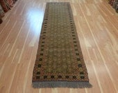 Oriental Rug Runner 2' 9 x 9' 6 Green Vintage Indian Tribal Rug