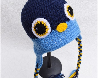 Crochet baby hat, Bird hat, Blue Bird hat, Baby photo prop, Baby hat, Baby boy, Baby props