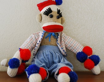 Vintage Handmade Sock Monkey - Dressed with Handmade Clothing and Pom Pom Details