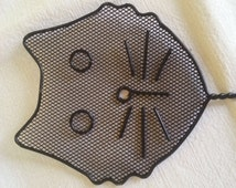 Vintage CAT Face Fly Swatter Unique  Flies Swat Gift for Cat lovers black metal Wire Cat face Fly swatter
