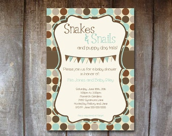 Editable Baby Shower Invitation - DIGITAL Printable, DIY Print Your Own - Charlie Theme - Snakes and Snails and Puppy Dog Tails Boy