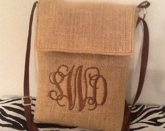 Small Monogram Burlap Cross Body Purse /Bag with Adjustable Strap