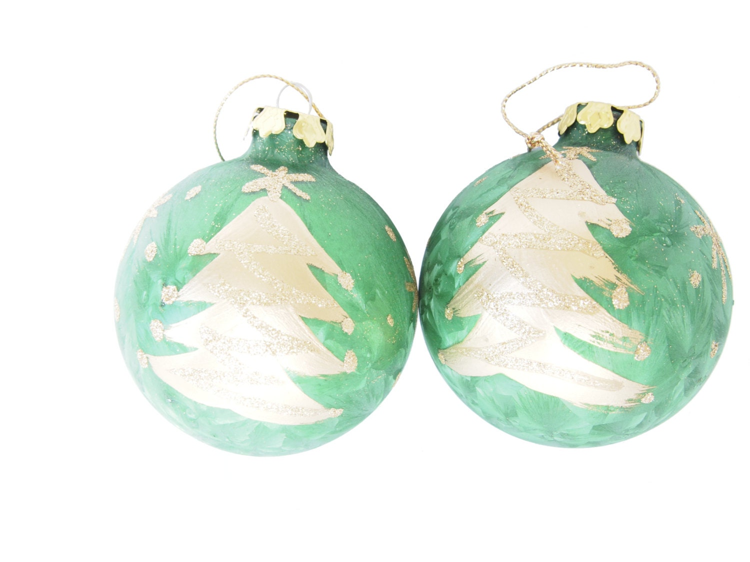 vintage set green and gold christmas tree ornaments