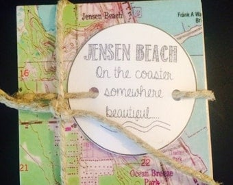 Jensen Beach FL Vintage Map Stone Coaster Set - Free Shipping