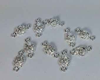 10 connectors roses in silver-plated hypoallergenic metal. 18 mm.