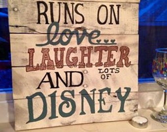 Rustic Disney inspired wall hanging made from reclaimed wood- hand painted!
