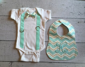 Baby Boy Bowtie Onesie with Suspenders with Bib, Create your Own!