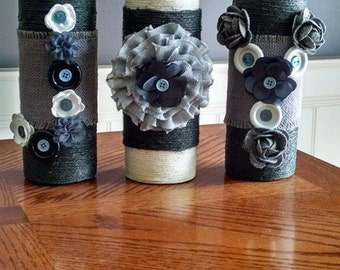 """Wine Bottles Decorated to spell """"JOY"""""""