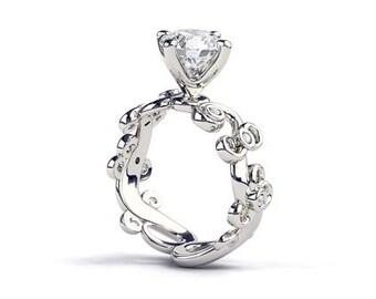 2 Carat Vine Moissanite Engagement Ring, 2 Carat Moissanite Forever One Ring, Leaf Moissanite Ring, Round Moissanite, Forever One Ring, 4 5