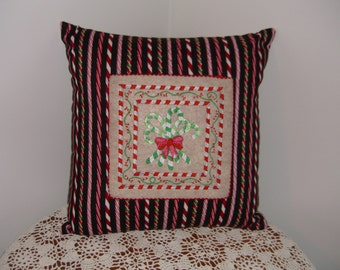 Candy Cane Quilted and Embroidered Pillow