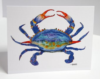 Crab Paintings, Maryland Crab, Blue Crab Art, Crab Note Cards, Crab Note Cards, Nautical, Crab Note Cards, Crab Print - FREE SHIPPING, 8 ct
