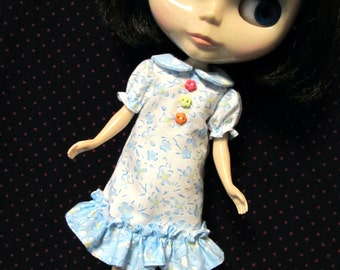 Blythe Doll Outfit Clothing Flower Print White Dress