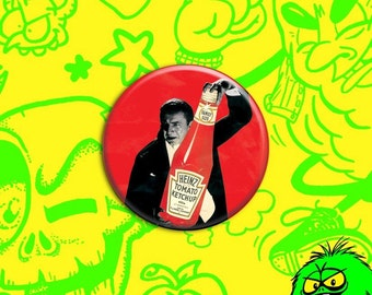 "SMALL Bela Lugosi's Dracula with Ketchup pin (1.25"" button) [vampire catsup heinz horror classic monster]"