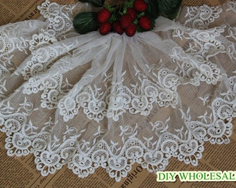 Lace Fabric Trim Cotton embroidery lace Floral Lace Fabric Cloth TRIM 1 yard