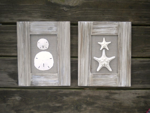 Cottage Bathroom Wall Decor : Cottage chic set of beach wall art bathroom decor home